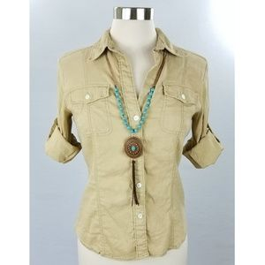 Theory Fitted Button Down Shirt Tan Small